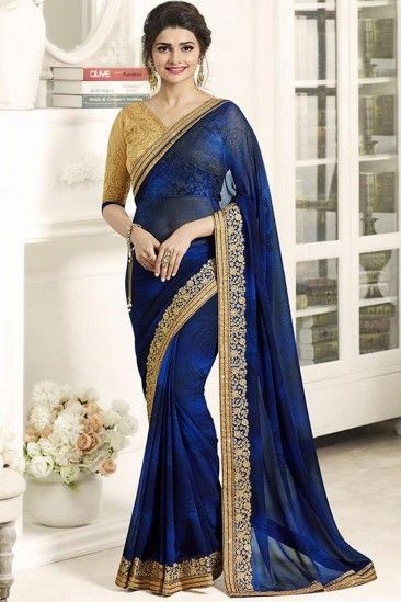 Bollywood Celebrity Prachi Desai Blue Georgette Saree With Banglori Silk Blouse - DMV11665