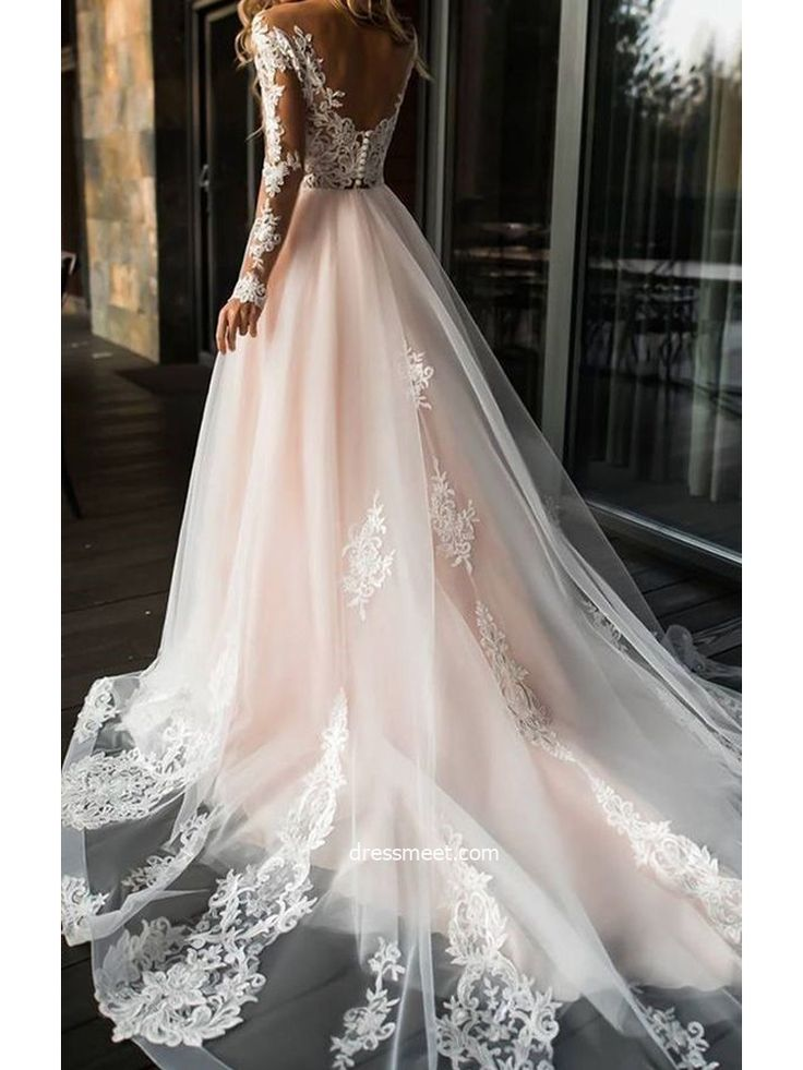 » Vintage and Modern A Line V Neck Open Back Long Sleeves Blush Pink Long Wedding Dresses WD0307001