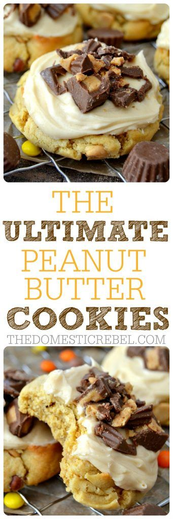 These Ultimate Peanut Butter Cookies are for serious PB lovers only! Soft & chewy peanut butter cookie topped with a creamy peanut butter frosting and peanut butter cups. So easy, so impressive, so addicting!