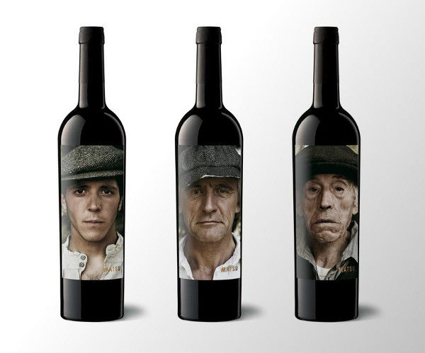 Matsu Organic Wine three generational labels