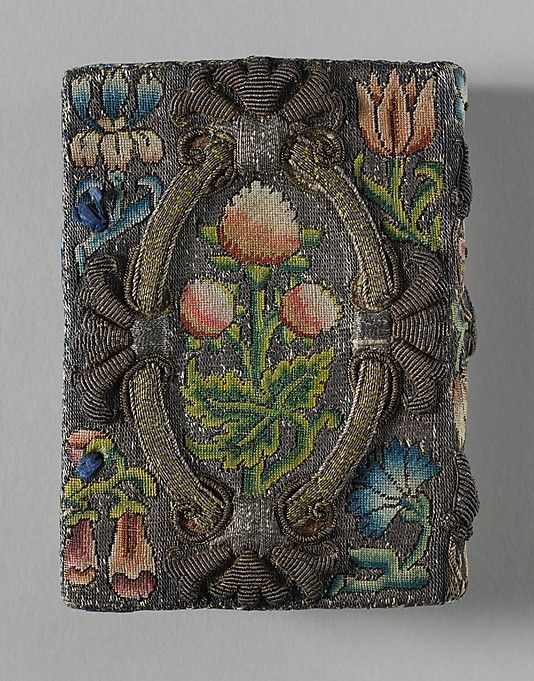 Book Cover-ca. 1635 British made of canvas worked with silk and metal thread, seed pearls; tent, Gobelin, and couching stitches.