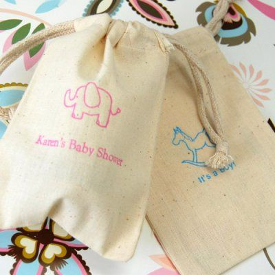 Personalized Natural Cotton Baby Shower Favor Bag for candy bar station