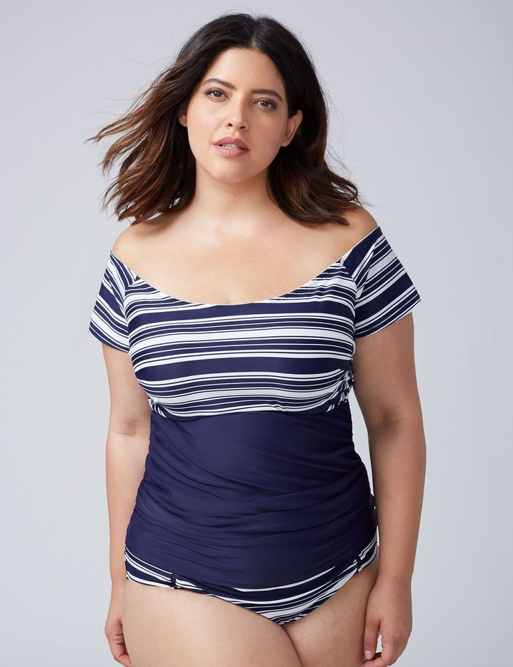 Off-the-Shoulder Swim Tankini Top with Built-In Bandeau Bra