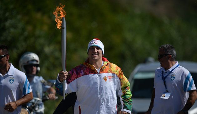 Olympic flame begins its journey to Sochi ~~ September 30, 2013. The flame was lit at the Temple of Hera using the suns rays and a parabolic mirror by a high priestess. The flame was passed to 18 year old Greek Alpine skier Giannis Antoniou then passed to Sochi 2014 Ambassador Alexander Ovechkin, who became the first Russian torchbearer of the relay.