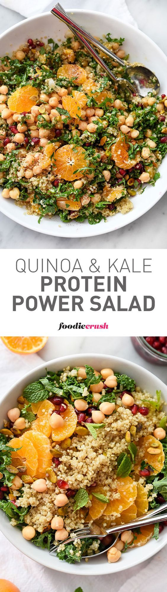 Quinoa, chickpeas (garbanzo beans) and pistachios add protein and healthy fat to this simple and seasonal kale salad, making it a favorite side dish or vegetarian main meal | foodiecrush.com: