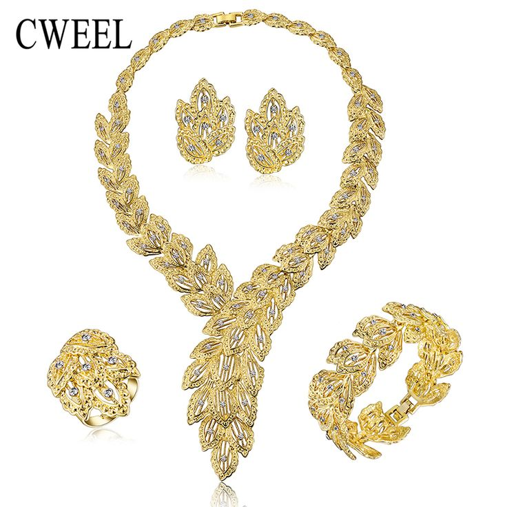 Jewelry Sets For Women Fine Imitation Crystal Necklace Set African Beads Earrings Gold Plated Pendant Wedding Dress Accessories