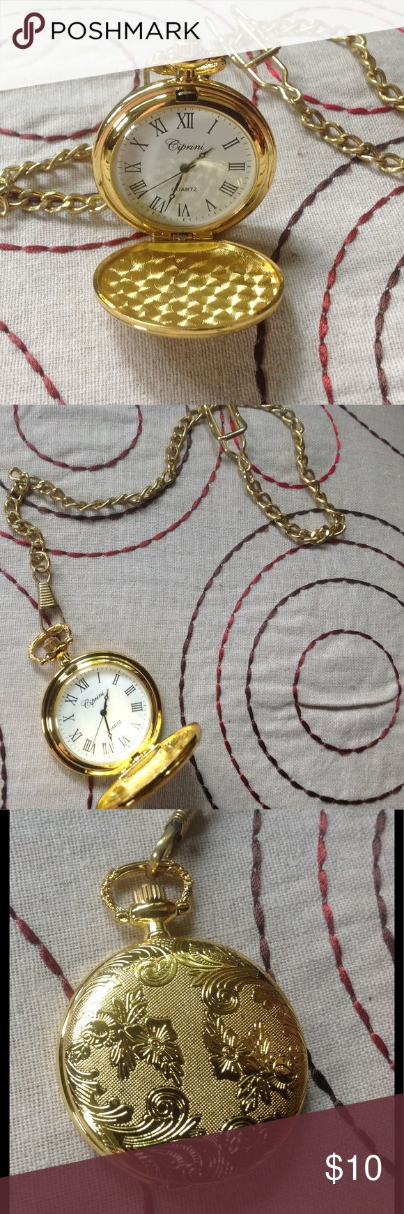 ⏱⏱ Fashion Quartz Pocket Watch ⏱⏱ Gold tone pocket watch is a unique accessory. Comes with chain which is not as shiny bright as the watch.  The closed watch is identical on the front and back and could be a great pendant. Watch is 2.5 inches in diameter and needs a new battery. Jewelry