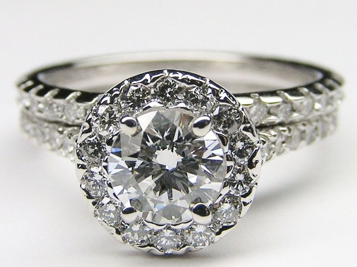 Diamond Halo Cathedral Engagement Ring Matching Wedding Band Es600brbs