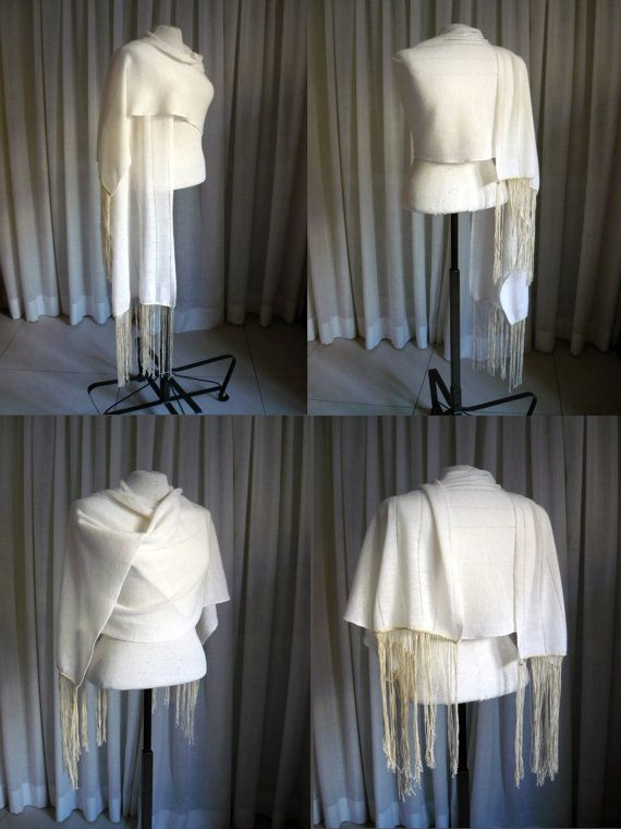 Ivory wool knit scarf/shawl/wrap with extra long di LTJstudio