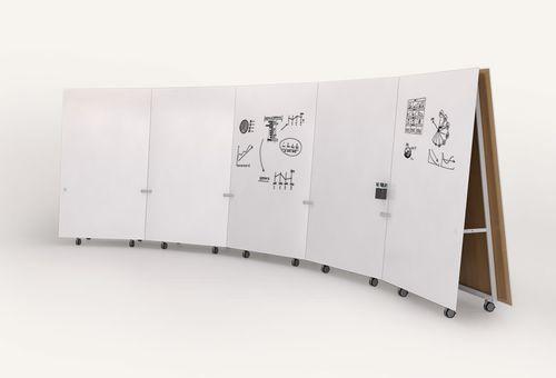 Floor-mounted desk partition / wood / on casters / modular HENGE schiavello