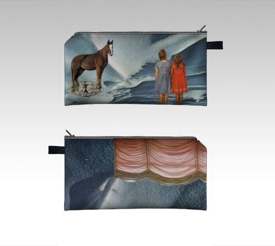 Digitally-printed pencil case/ zipper pouch - collage art by livingferal. Through my Indiegogo campaign: http://igg.me/at/livingferal