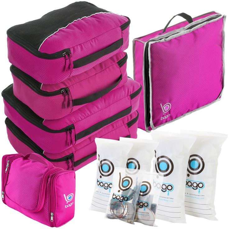 Packing Value Set 2Large, 2 Medium Cubes, Toiletry Bag, Shoe Bag + 6pcs Zip Bags Organizers
