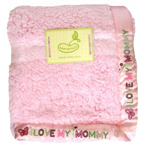 'I Love My Mommy' Pink Cloud Satin Lined Baby Blanket.