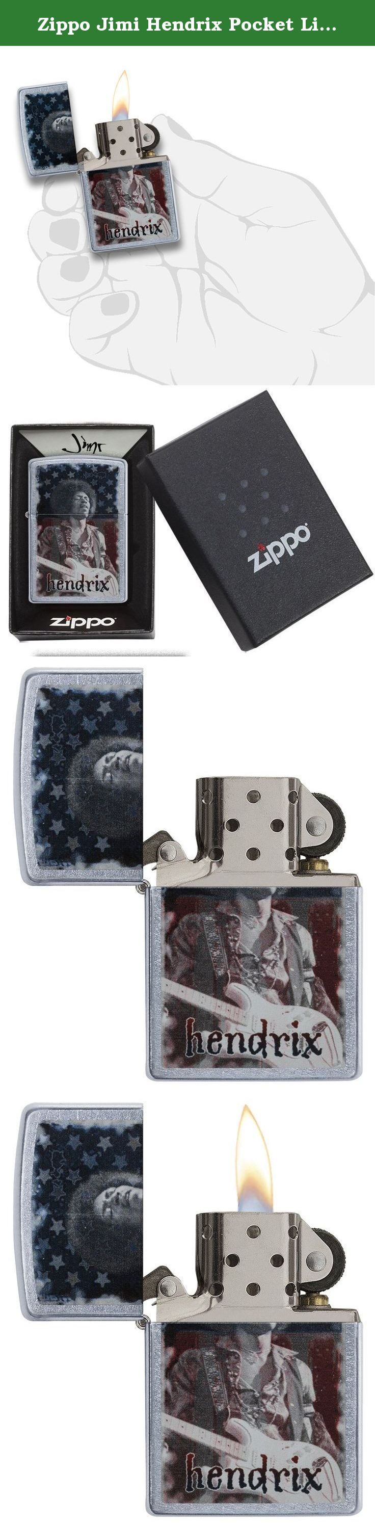 Zippo Jimi Hendrix Pocket Lighter, Street Chrome. Superstar jimi hendrix changed the face of music, fashion and lifestyle. And now he's changing the face of the iconic Zippo windproof lighter with this dynamic image of jimi in front of an American Flag, bringing back memories of his legendary performance of the star spangled banner, on a street chrome lighter. Lighter comes packaged in an elegant and environmentally friendly gift box, making this a perfect gift for anyone on your list…