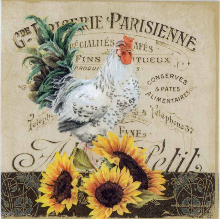 Decoupage Napkins Of Rooster Amp Sunflowers Napkins