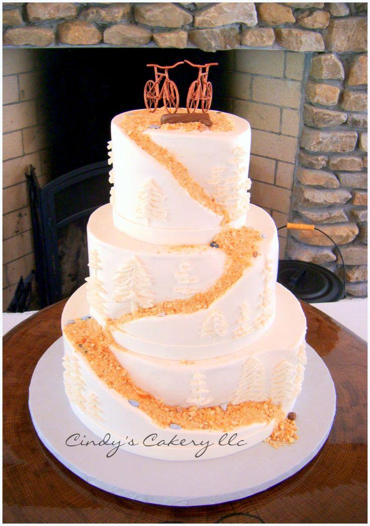 mountain bike/trail wedding cake - www.cindyscakery.com