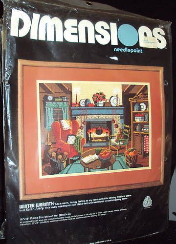 Dimensions Winter Warmth Cozy Fireplace Needlepoint Kit #dimensions