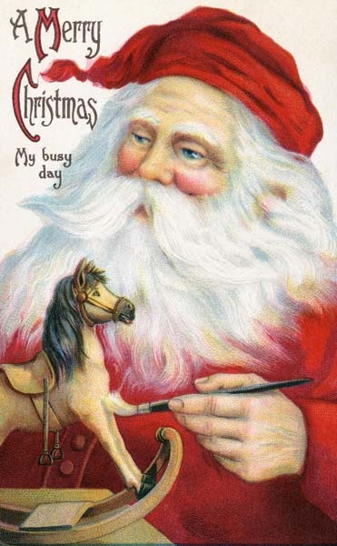 Santa's work is never done! He has never looked so good!: Christmas Cards, Santa Clause, Vintage Christmas, Vintage Santa, Rocks Hors, Father Christmas, Victorian Christmas, Merry Christmas, German Christmas