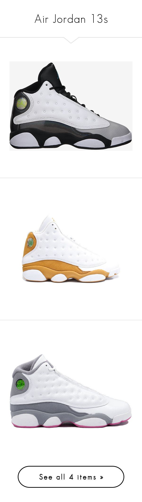 """""""Air Jordan 13s"""" by typical-dresser ❤ liked on Polyvore featuring shoes, jordans, sneakers, jordan 13, shoes // socks, white leather sneakers, leather trainers, white leather trainers, retro shoes and genuine leather shoes"""