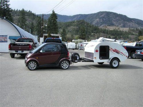 Teardrops are the new pop-up tent camper. Unlike pop-ups, teardrops are ultra lightweight at around 700 pounds and can be towed by virtually any vehicle with a hitch. Even the Mini Cooper, VW Beetle, or Smart Car can tow most models of teardrop camper trailers