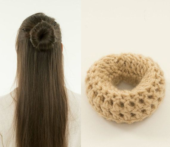 Small Blonde Bun Maker / Crocheted Donut by vintagelookcreations