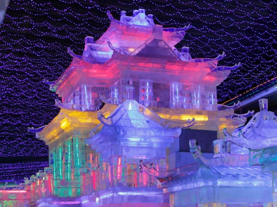 Incredible ice houses at Chinese Lantern Festival displaying Pantone 2012 colors.