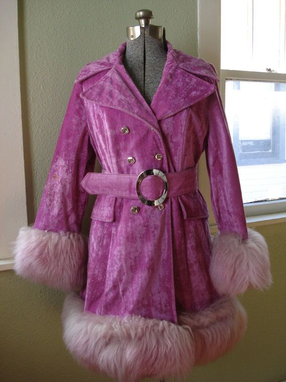 Vintage 1960s Velvet Coat Hot Pink Orchid Faux Fur by bycinbyhand, $265.00