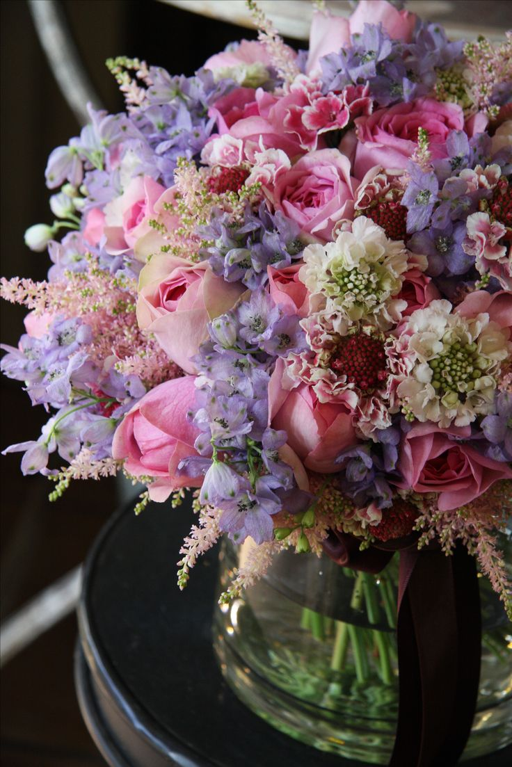 roses, scabiosas, delphiniums and astilbes
