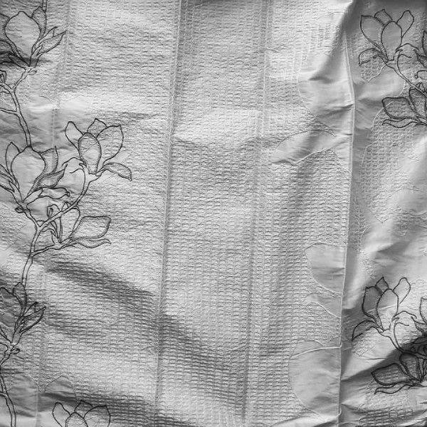 Draperie Alba din Matase cu Flori 14111-100 Princesse