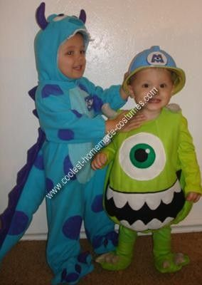 Homemade Monster's Inc Couple Costume: My two sons are currently obsessed with the movie Monster's Inc so my mom and I decided to make them Sulley and Mike Wazowski costumes. For both costumes