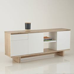 meuble 3 portes 1 tiroir finitions chne bross et blanc tal - Meuble Tv Blanc Modele Lions