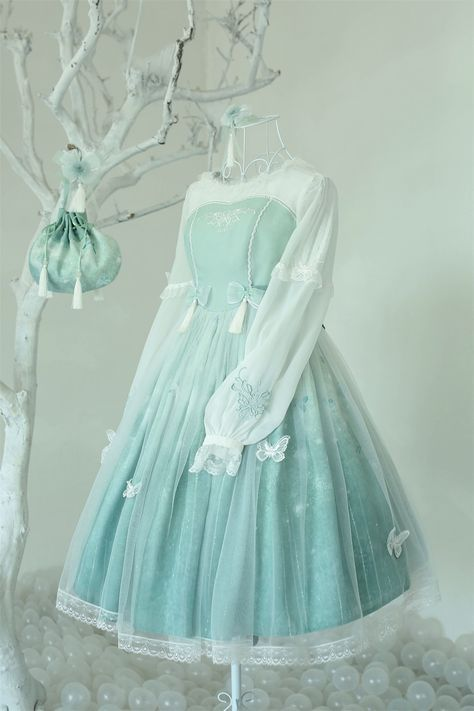 Arcadian Deer -Butterfly Dream- Embroidery Qi Lolita OP Dress