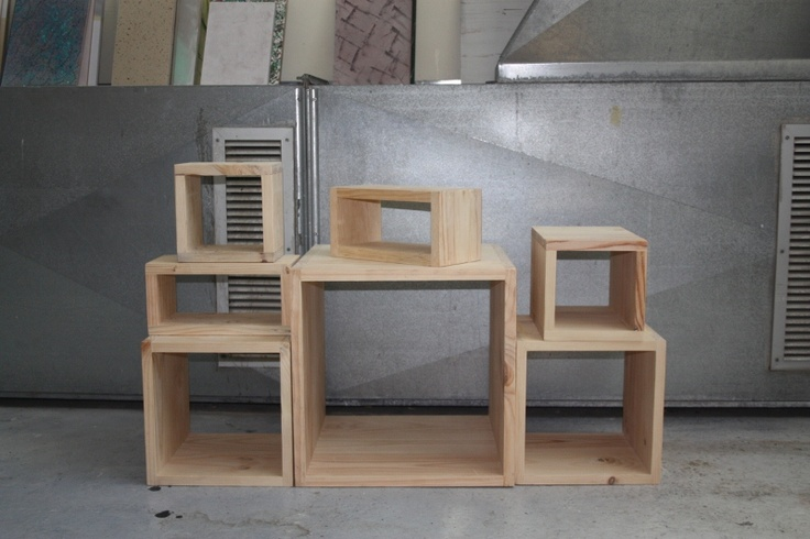 stacked wooden display box unit