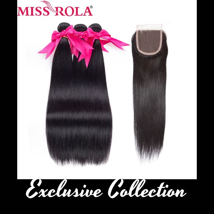 Straight Hair Peruvian Human Hair Bundles with Closure [Non-Remy Hair Extensions]