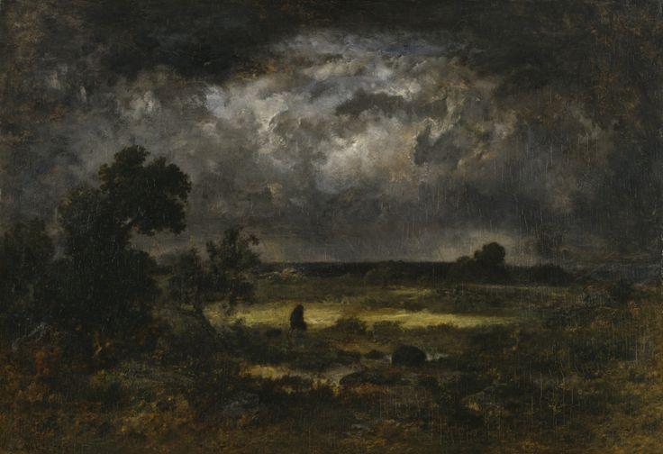 """The Storm 1872 Narcisse Virgile Diaz de la Pena """" A solitary figure braces…"""