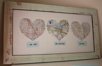 Adorable Map HeartsHeart, Giftideas, Maps, Anniversaries Ideas, Anniversaries Gift, Gift Ideas, Cute Ideas, Anniversary Gifts, Wedding Gifts