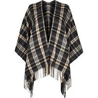 Grey plaid check blanket cape
