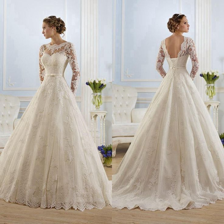 Vintage Wedding Dresses 2015 Scoop Ribbon Beads Lace Up Back Court Train A Line Bridal