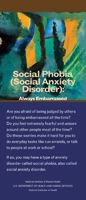 A brochure on social phobia that explains the signs, symptoms, and treatments.