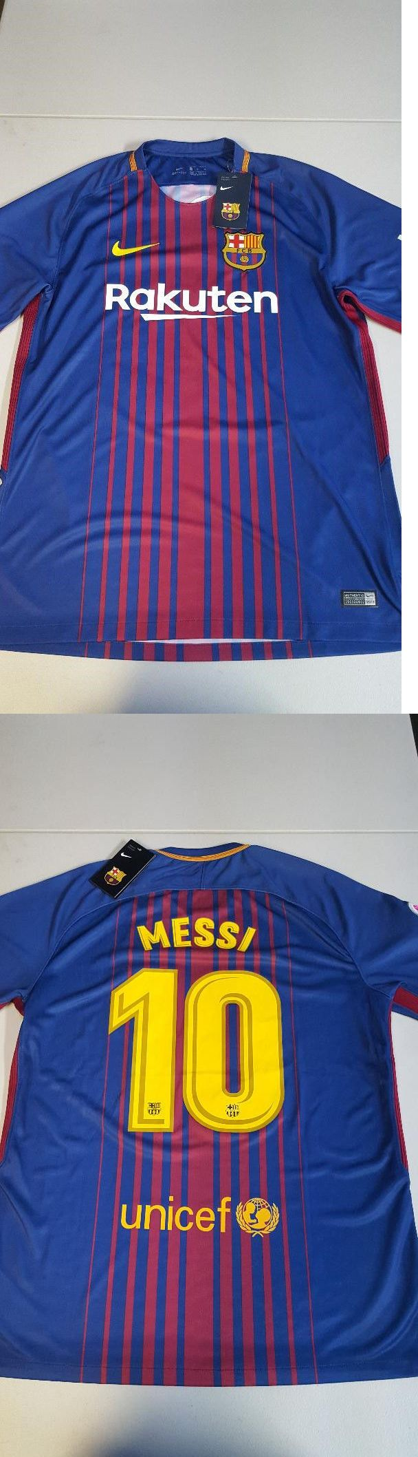 Men 123490: Fc Barcelona Nike Soccer Jersey 2017 18 Home Official Messi 10 Size L -> BUY IT NOW ONLY: $32 on eBay!