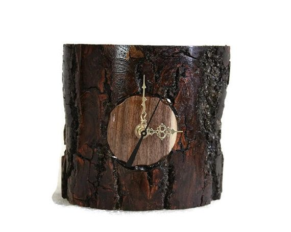 Black Walnut Desk Clock Bark Handmade Mantel Live Edge by RayMels, $29.95