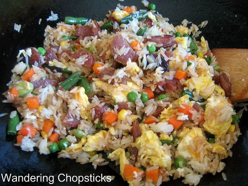 Fried Rice with Chinese Sausage, Frozen Mixed Vegetables, and Eggs 3