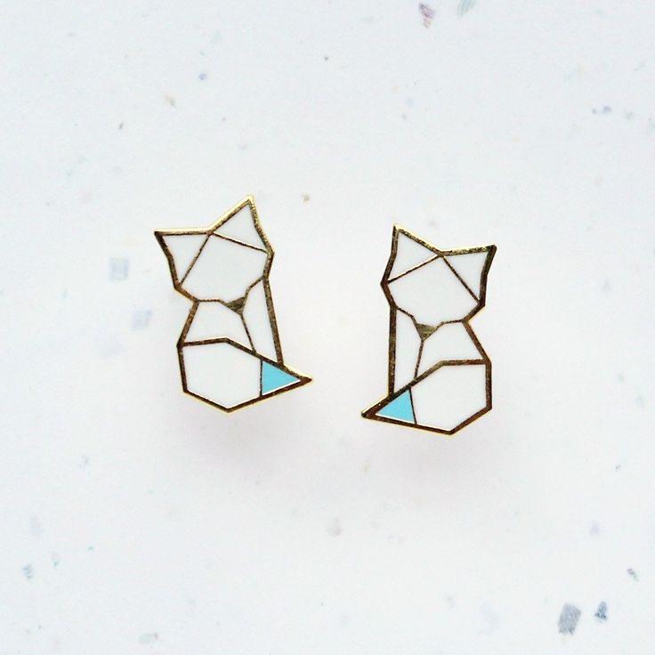 Hannah Zakari - Arctic Fox Origami Stud Earrings #earrings