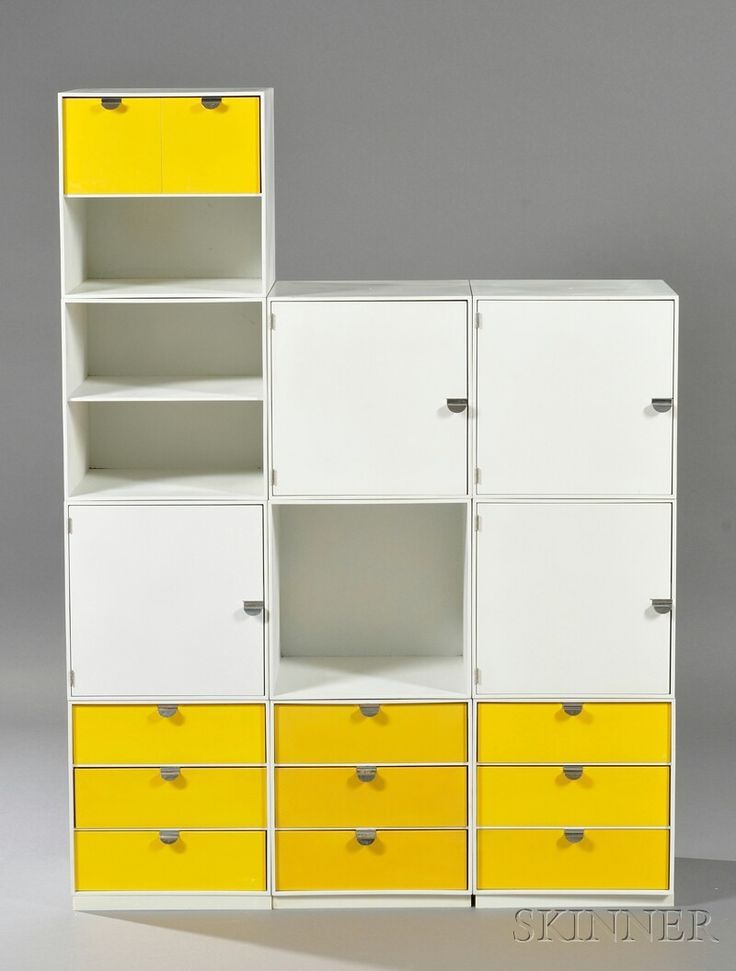 Lot: Palaset Storage Cubes by Ristomatti Ratia Design c. 1972 Comprised of ten cubes on three floor stands in white, drawers in yellow wi..., Lot Number: 0635, Starting Bid: $200, Auctioneer: Skinner , Auction: 20th Century Design, Date: December 17th, 2011 CET