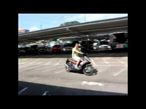 Man taking a gas powered scooter for a test drive but quickly crashes it. | Real Funny