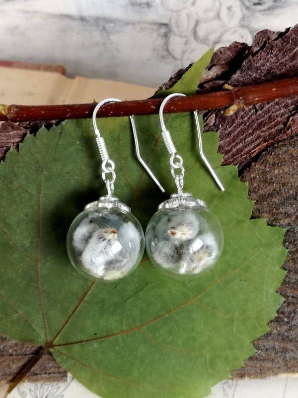 Pussywillow Silver earrings, delicate sterling silver earrings, Catkins in glass spheres Earrings, Romantic Terrarium earrings, glass orbs by BUSTANI on Etsy