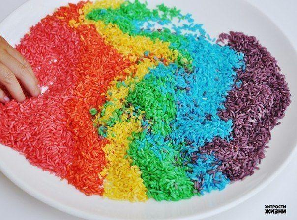 Как сделать цветной рис для декора