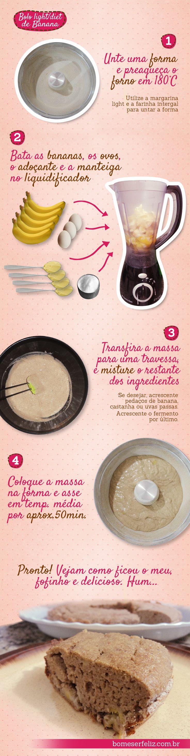 Ingredientes: • 5 bananas prata maduras • 3 ovos • 1 xícara de café de adoçante em pó para forno e fogão (preferencialmente com sucralose) • 4 colheres (sopa) de margarina light • 1 xícara de chá de farinha de trigo integral • 1 xícara de chá de aveia • 1 colher de sopa de canela em pó • 1 colher de sopa de fermento em pó
