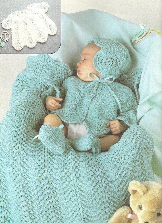 892a8ca3a Vintage Knitting Pattern Knit Baby Girl Shell Stitch Layette Set ...