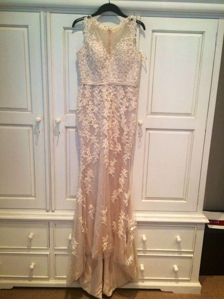 Champaigne/Nude Lace Embelished Wedding Dress Size 8/10 Fishtail